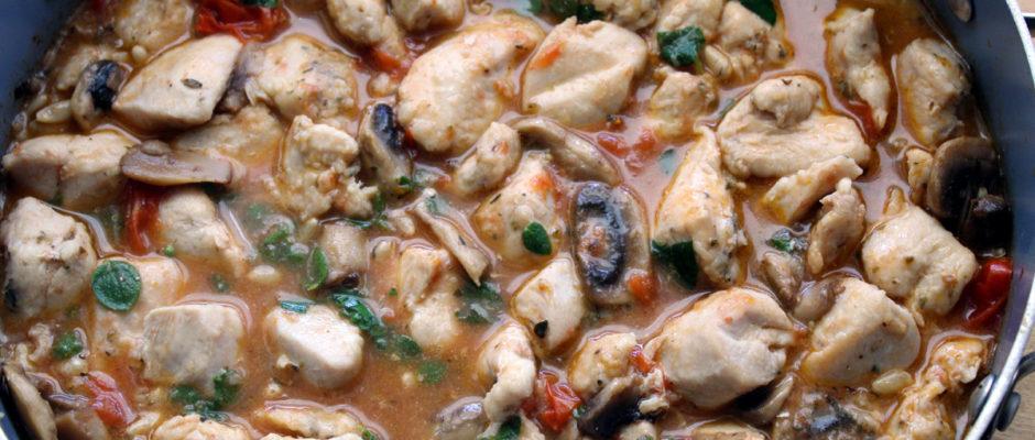 φιλέτο κοτόπουλου με ντοματίνια και μανιτάρια
