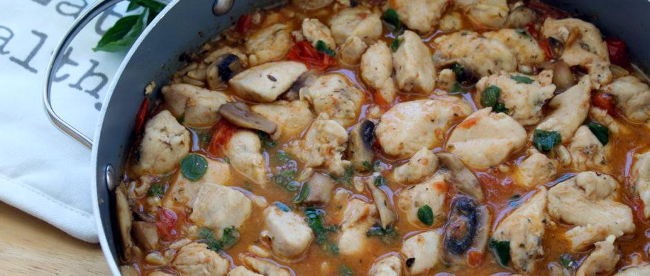 φιλέτο κοτόπουλο με ντοματίνια και μανιτάρια