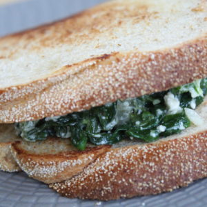Spinach pie sandwich and feta cheese